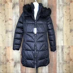Via Spiga Black Leopard Print Puffer Coat Faux Fur